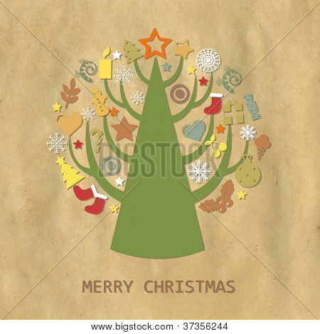 Christmas Vintage Composition With Cardboard Structure, Vector Illustration