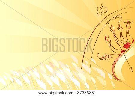 illustration of goddess Durga killing Mahishasura
