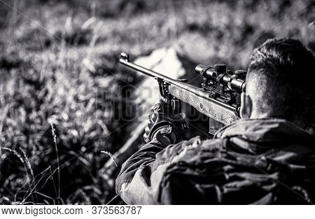 The Man Is On The Hunt. Hunt Hunting Rifle. Hunter Man. Hunting Period. Male With A Gun. Close Up. H