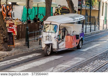 Lisbon, Portugal - October 8, 2017: Tuk Tuk In The Center Of Lisbon, Portugal