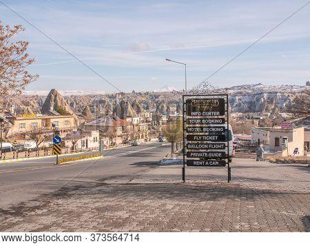 Goreme, Turkey - January 11, 2020: Tourist Surroundings Near The City Of Goreme In Turkey. Cappadoci