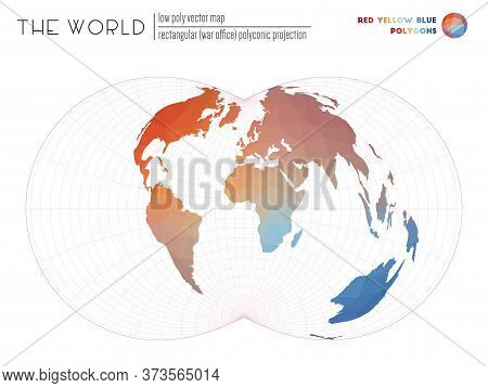 Low Poly Design Of The World. Rectangular (war Office) Polyconic Projection Of The World. Red Yellow