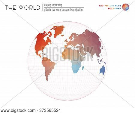 Low Poly World Map. Gilbert's Two-world Perspective Projection Of The World. Red Yellow Blue Colored