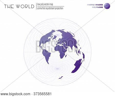 Polygonal Map Of The World. Azimuthal Equidistant Projection Of The World. Purple Shades Colored Pol