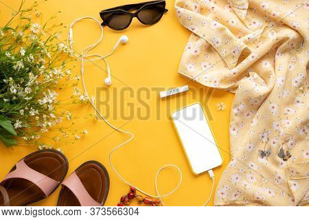 Overhead Top View, Flat Lay, Photo Of Girl Lifestyle Accessories. Still Life Of Random Objects Of A