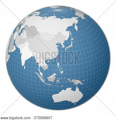 Globe Centered To Taiwan. Country Highlighted With Green Color On World Map. Satellite World Project