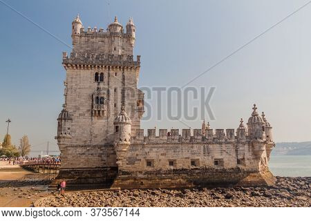 Lisbon, Portugal - October 11, 2017: Torre De Belem Belem Tower In Lisbon, Portugal