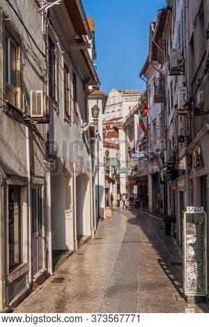 Coimbra, Portugal - October 12, 2017: Narrow Alley In The Center Of Coimbra.