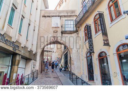 Coimbra, Portugal - October 13, 2017: Narrow Alley In The Center Of Coimbra.