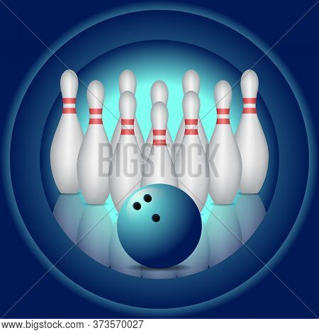 Blue Background With Bowling Pins And Bowling Ball.