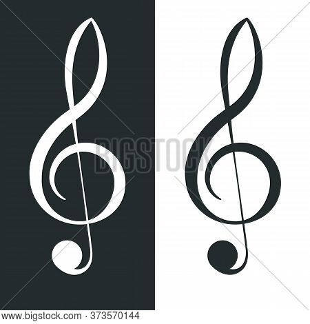 Treble Clef. Classical G-clef Musical Notation Symbol. Music Icon Vector Illustration.