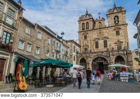 Braga, Portugal - October 15, 2017: Cathedral In Braga As Seen From Rua Dom Paio Mendes Street, Port