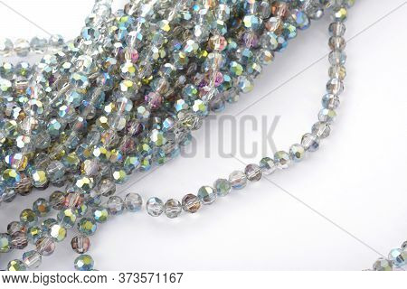 Beautiful Color Silver Gray Glass Sparkle Crystal Isoalted Beads On White Background. Use For Diy Be