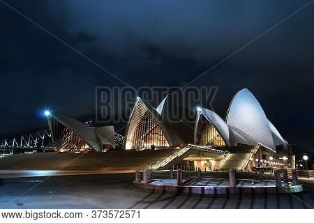 Sydney, Australia - February 22, 2020: The Opera House And Promenade At Night, Sydney.
