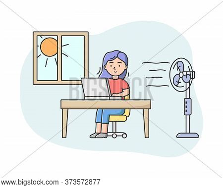 Concept Of Summer Hot Period. Woman Weary From Heat Working In The Office On Computer. Pretty Girl U