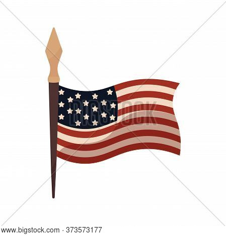 Flag Of United States. Independence Day Icon - Vector