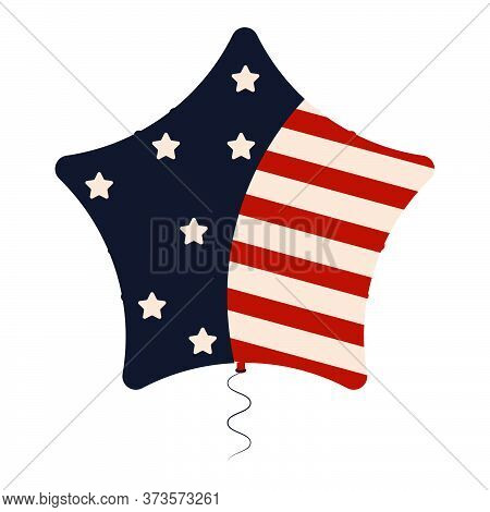 Star Balloon With Flag Of United States - Vector