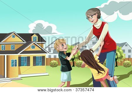 A vector illustration of a grandmother playing with her grandchildren poster