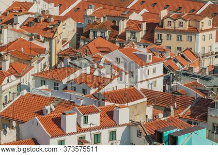 Roofs Of Alfama Neighborhhod Of Lisbon From Miradouro De Santa Luzia Viewpoint, Portugal