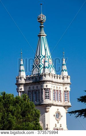 Tower Of The Town Hall Camara Municipal In Sintra, Portugal