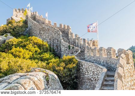Ramparts Of The Castelo Dos Mouros Castle In Sintra, Portugal