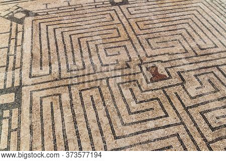 Mosaic Representing The Labyrinth With The Minotaur In Conimbriga Roman Ruins, Portugal