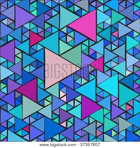 Random triangles background with different sizes and colors poster