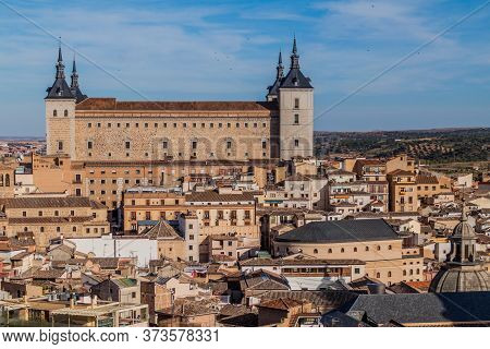 View Of Alcazar Fortress In Toledo, Spain