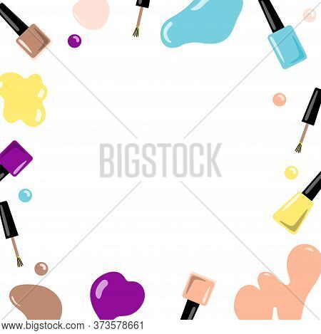 Frame With Accessories For Manicure. Vector Illustration.