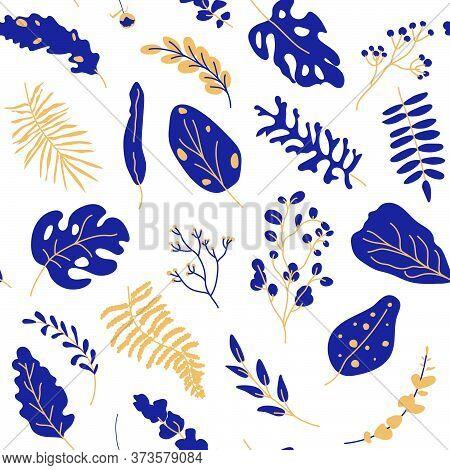 Tropical Leaves Gold Dark Blue Seamless Pattern. Abstract Exotic Floral Flat Cartoon Elements Limitl