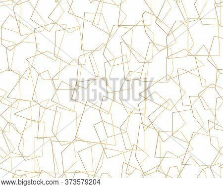 Gold Abstract Seamless Pattern. Limitless Background, Stylish Golden Line Geometric Shapes. Boundles