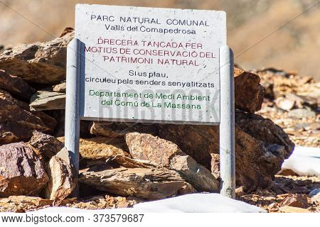 Information Board In Parc Natural Comunal De Les Valls Del Comapedrosa National Park In Andorra It S