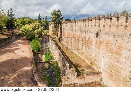 Fortification Walls Of Alcazar In Cordoba, Spain