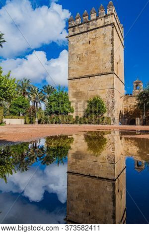 Tower Of Alcazar De Los Reyes Cristianos In Cordoba, Spain