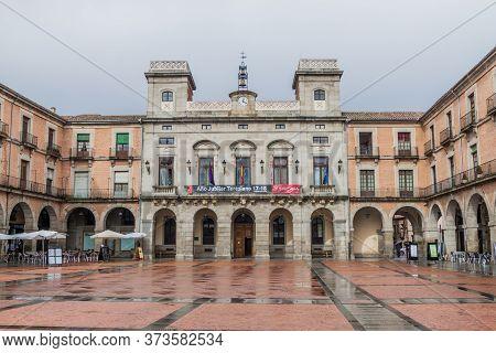 Avila, Spain - October 19, 2017: Town Hall At Plaza Mercado Chico Plaza Mayor Square In Avila.