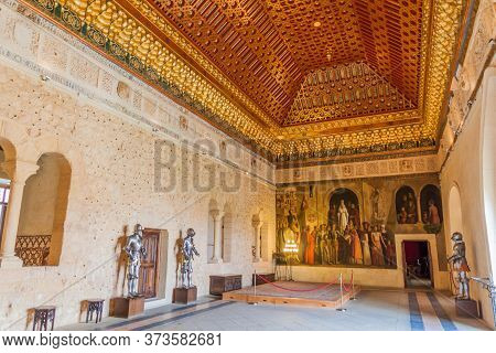 Segovia, Spain - October 20, 2017: One Of The Rooms In The Alcazar Fortress In Segovia, Spain