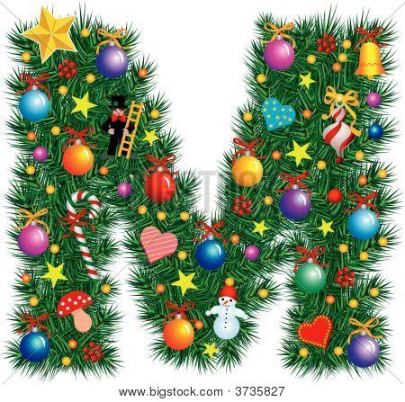 Alphabet Letter M - Christmas Decoration