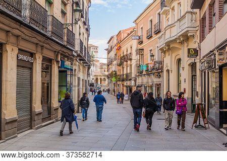 Segovia, Spain - October 20, 2017: Street In The Old Town Of Segovia, Spain