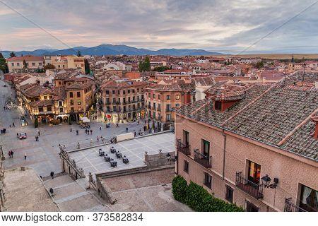 Segovia, Spain - October 20, 2017: Skyline Of The Old Town Of Segovia, Spain