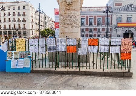 Madrid, Spain - October 21, 2017: Protest Posters At Puerta Del Sol Square In Madrid.