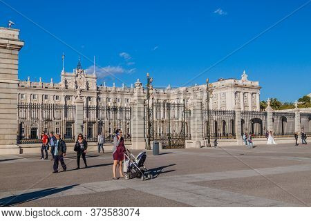 Madrid, Spain - October 21, 2017: People In Front Of Palacio Real Royal Palace In Madrid.