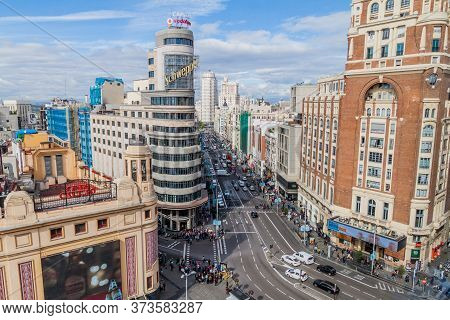 Madrid, Spain - October 22, 2017: Calle Gran Via Street And Carrion Building In Madrid