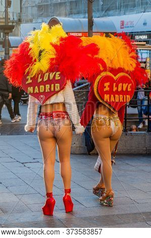 Madrid, Spain - October 25, 2017: Girls In I Love Madrid Costume On Puerta Del Sol Square In Madrid.