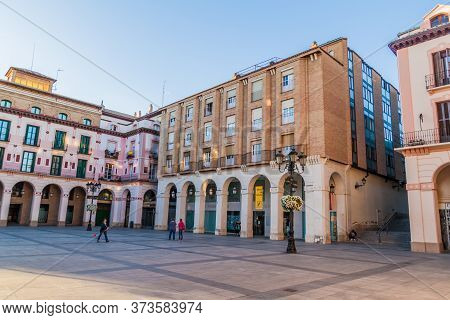 Huesca, Spain - October 29, 2017: View Of Plaza Luis Lopez Allue Square In Huesca, Spain.