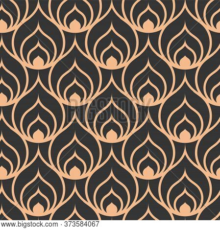 Continuous Tileable Graphic Arc Plexus Texture. Dark Creative Vector Gatsby Swatch Pattern. Repeat C