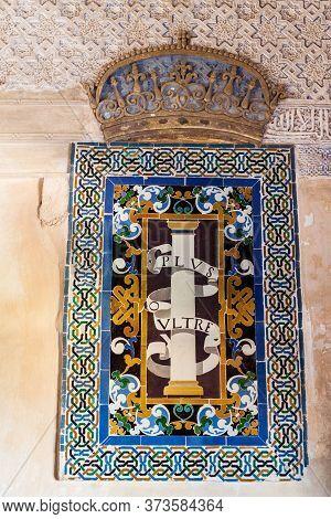 Granada, Spain - November 2, 2017: Motto Of Spain Plus Ultra Further Beyond At Alhambra In Granada,