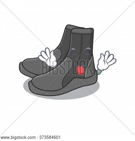 Amusing Dive Booties Cartoon Picture Style With Tongue Out Face