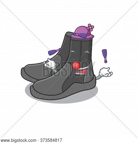 A Dive Booties Cartoon Design Style Love Playing Juggling