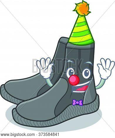 Friendly Clown Dive Booties Mascot Design Concept