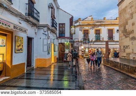 Cordoba, Spain - November 4, 2017: View Of Cardenal Herrero Street In Cordoba, Spain